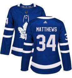 Women's Adidas Toronto Maple Leafs #34 Auston Matthews Authentic Royal Blue Home NHL Jersey