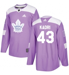 Youth Adidas Toronto Maple Leafs #43 Nazem Kadri Authentic Purple Fights Cancer Practice NHL Jersey