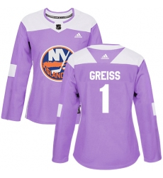 Women's Adidas New York Islanders #1 Thomas Greiss Authentic Purple Fights Cancer Practice NHL Jersey