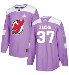 Youth Adidas New Jersey Devils #37 Pavel Zacha Authentic Purple Fights Cancer Practice NHL Jersey