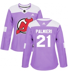 Women's Adidas New Jersey Devils #21 Kyle Palmieri Authentic Purple Fights Cancer Practice NHL Jersey