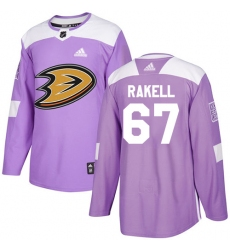 Men's Adidas Anaheim Ducks #67 Rickard Rakell Authentic Purple Fights Cancer Practice NHL Jersey
