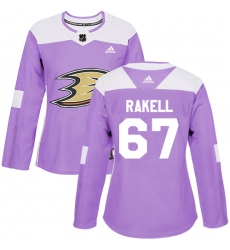 Women's Adidas Anaheim Ducks #67 Rickard Rakell Authentic Purple Fights Cancer Practice NHL Jersey