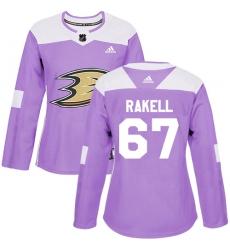 Women's Adidas Anaheim Ducks #67 Rickard Rakell Authentic Purple Fights Cancer Practice NHL Jersey