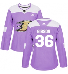 Women's Adidas Anaheim Ducks #36 John Gibson Authentic Purple Fights Cancer Practice NHL Jersey