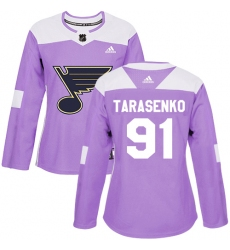 Women's Adidas St. Louis Blues #91 Vladimir Tarasenko Authentic Purple Fights Cancer Practice NHL Jersey