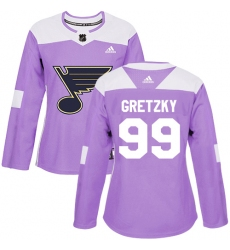 Women's Adidas St. Louis Blues #99 Wayne Gretzky Authentic Purple Fights Cancer Practice NHL Jersey