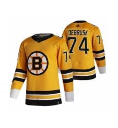 Men's Boston Bruins #74 Jake DeBrusk Yellow 2020-21 Reverse Retro Alternate Hockey Jersey