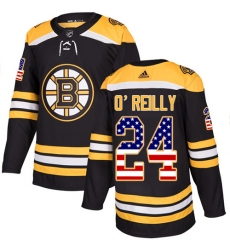 Youth Adidas Boston Bruins #24 Terry O'Reilly Authentic Black USA Flag Fashion NHL Jersey