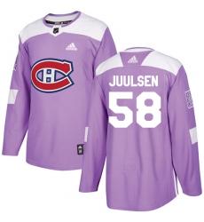 Men's Adidas Montreal Canadiens #58 Noah Juulsen Authentic Purple Fights Cancer Practice NHL Jersey
