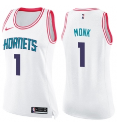 Women's Nike Charlotte Hornets #1 Malik Monk Swingman White/Pink Fashion NBA Jersey