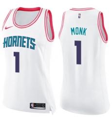 Women's Nike Charlotte Hornets #1 Malik Monk Swingman White/Pink Fashion NBA Jersey