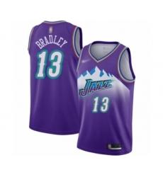 Men's Utah Jazz #13 Tony Bradley Authentic Purple Hardwood Classics Basketball Jersey
