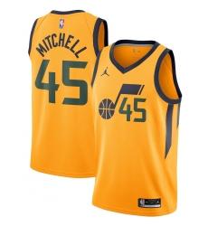 Men's Utah Jazz #45 Donovan Mitchell Jordan Brand Gold 2020-21 Swingman Jersey