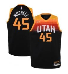 Youth Utah Jazz #45 Donovan Mitchell Nike Black 2020-21 Swingman Jersey