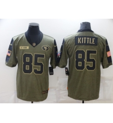 Men's San Francisco 49ers #85 George Kittle Nike Olive 2021 Salute To Service Limited Player Jersey