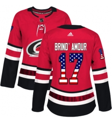 Women's Adidas Carolina Hurricanes #17 Rod Brind'Amour Authentic Red USA Flag Fashion NHL Jersey