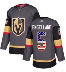 Men's Adidas Vegas Golden Knights #5 Deryk Engelland Authentic Gray USA Flag Fashion NHL Jersey