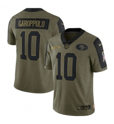 Men's San Francisco 49ers #10 Jimmy Garoppolo Nike Olive 2021 Salute To Service Limited Player Jersey