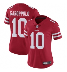 Women's Nike San Francisco 49ers #10 Jimmy Garoppolo Red Team Color Vapor Untouchable Limited Player NFL Jersey