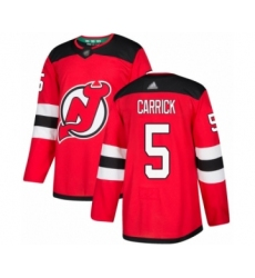 Men's New Jersey Devils #5 Connor Carrick Authentic Red Home Hockey Jersey