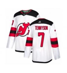 Men's New Jersey Devils #7 Matt Tennyson Authentic White Away Hockey Jersey