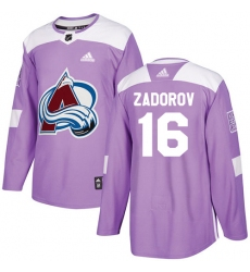Youth Adidas Colorado Avalanche #16 Nikita Zadorov Authentic Purple Fights Cancer Practice NHL Jersey
