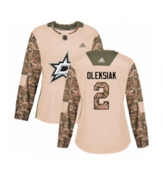 Women's Dallas Stars #2 Jamie Oleksiak Authentic Camo Veterans Day Practice Hockey Jersey