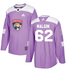 Youth Adidas Florida Panthers #62 Denis Malgin Authentic Purple Fights Cancer Practice NHL Jersey