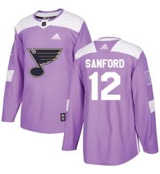 Men's Adidas St. Louis Blues #12 Zach Sanford Authentic Purple Fights Cancer Practice NHL Jersey