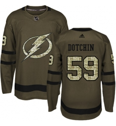 Youth Adidas Tampa Bay Lightning #59 Jake Dotchin Authentic Green Salute to Service NHL Jersey