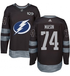 Men's Adidas Tampa Bay Lightning #74 Dominik Masin Authentic Black 1917-2017 100th Anniversary NHL Jersey