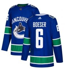 Men's Adidas Vancouver Canucks #6 Brock Boeser Premier Blue Home NHL Jersey