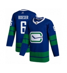 Men's Vancouver Canucks #6 Brock Boeser Authentic Royal Blue Alternate Hockey Jersey