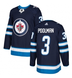 Men's Adidas Winnipeg Jets #3 Tucker Poolman Authentic Navy Blue Home NHL Jersey