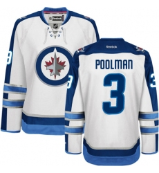 Women's Reebok Winnipeg Jets #3 Tucker Poolman Authentic White Away NHL Jersey