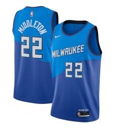 Men's Milwaukee Bucks #22 Khris Middleton Nike Blue 2020-21 Swingman Player Jersey
