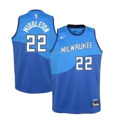 Youth Milwaukee Bucks #22 Khris Middleton Nike Royal 2020-21 Swingman Jersey