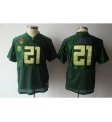 Youth Kids NCAA Oregon Ducks 21 LaMichael James All Stitched Jersey Green