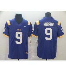 Men's LSU Tigers #9 Burrow Purple College Football Jersey