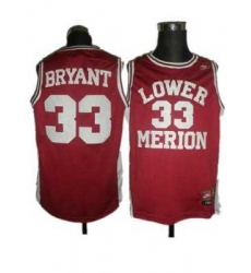 Merion #33 Kobe Bryant Red Basketball Embroidered NCAA Jersey