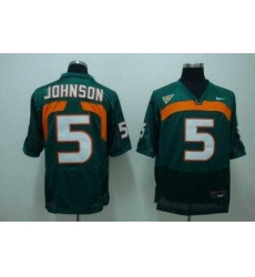 Hurricanes #5 Andre Johnson Green Embroidered NCAA Jersey