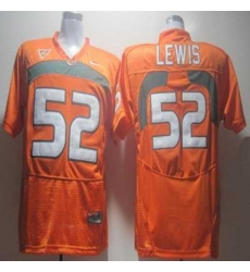 Hurricanes #52 Ray Lewis Orange Embroidered NCAA Jerseys