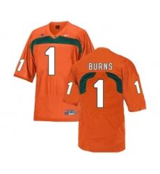 Miami Hurricanes 1 Artie Burns Orange College Football Jersey