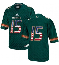 Miami Hurricanes #15 Green USA Flag College Football Jersey