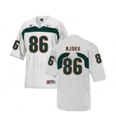 Miami Hurricanes 86 David Njoku White College Football Jersey