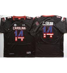South Carolina Gamecocks #14 C.Shaw Black USA Flag College Jersey