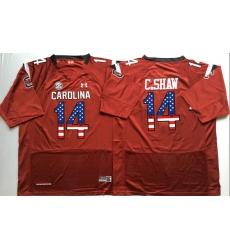 South Carolina Gamecocks #14 C.Shaw Red USA Flag College Jersey
