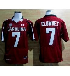 Under Armour South Carolina Javedeon Clowney 7 New SEC Patch NCAA Football - Maroon