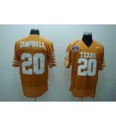 Longhorns #20 Earl Campbell Orange Embroidered NCAA Jersey